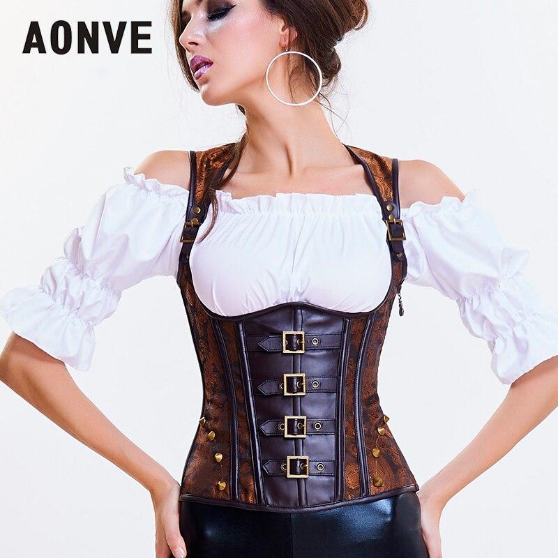Aonve Vintage Steampunk   Corset   Underbust Steel Bones Korse Vest Brown Punk Rave Clothes Women Sexy Retro Korset Top
