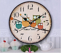 ZORASUN 14 Inch Cute Wall Clock Modern Family Animated Cartoon Decoration Wood Clock Painted Owl Lovely Style Silent Quartz