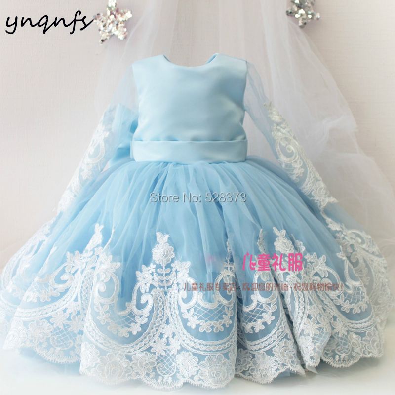 YNQNFS G10 Real Flower Girl Dresses Long Sleeve Ball Gown Princess Gown for Baby Kids Child Pageant Birthday Party Photography