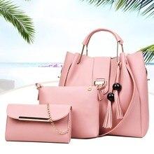 Модный комплект из 3 предметов, Брендовая женская сумка, большая сумка через плечо, Женская Высококачественная сумка-тоут из искусственной кожи