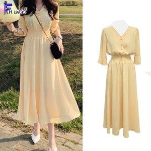 Image 2 - Frauen V Neck Sommer Kleider Chiffon Flare Hülse Dünne Taille EINE Linie Koreanische Stil Kleidung Design Taste Hemd Kleid Lila gelb