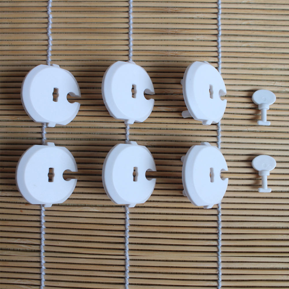 6PCS Socket Cover+2PCS Key For Home Plug Protection Cover Childproof Baby Safety Electric Anti-electric Shock Outlet Socket Set