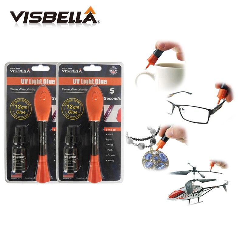 Visbella 2pcs 12g Big Package With 8g Refill Bottle Liquid Plastic Welding Glue 5 Second Fix UV Light Glue Quickly Seal Repair