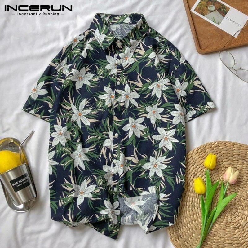 INCERUN 2019 Summer Mens Beach Hawaiian Shirt Flower Print Short Sleeve Lapel Neck Men Brand Shirts Camisa Masculina Plus Size