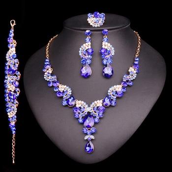 3c76b2fc749a 2018 moda cristal indio collar pendiente pulsera anillo joyería conjuntos  para mujeres novias boda traje joyería