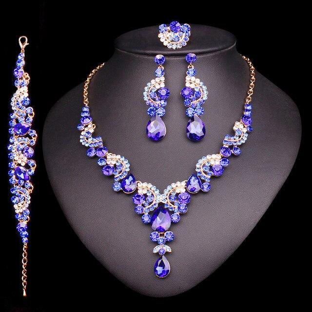 2018 mode Kristall Indische Halskette Ohrring Armband Ring Schmuck Sets für Frauen Bräute Braut Hochzeit Partei Kostüm Schmuck