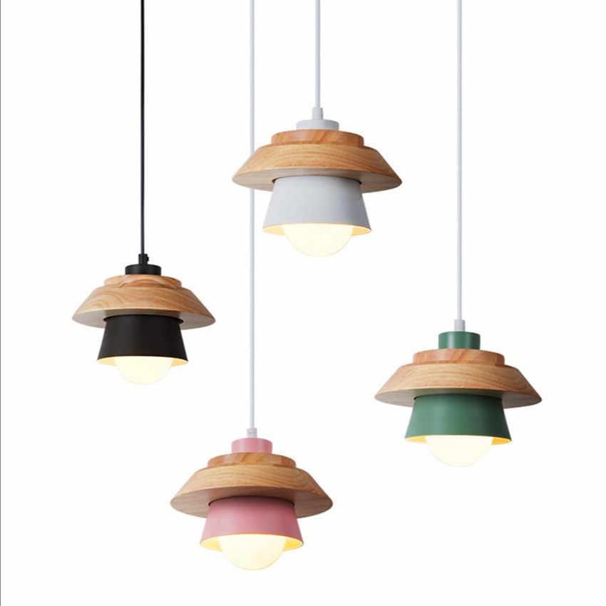 Modern LED Pendant Light Pink Hijau Putih Warna-warni Kilau Besi Tempa Logam Kayu Nordic E27 Lampu Dapur Belajar Dekorasi Rumah