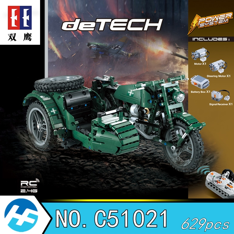 German World War II Military Motorcycles Remote control Building Blocks Bricks Compatible legoins Technic Cada C51021
