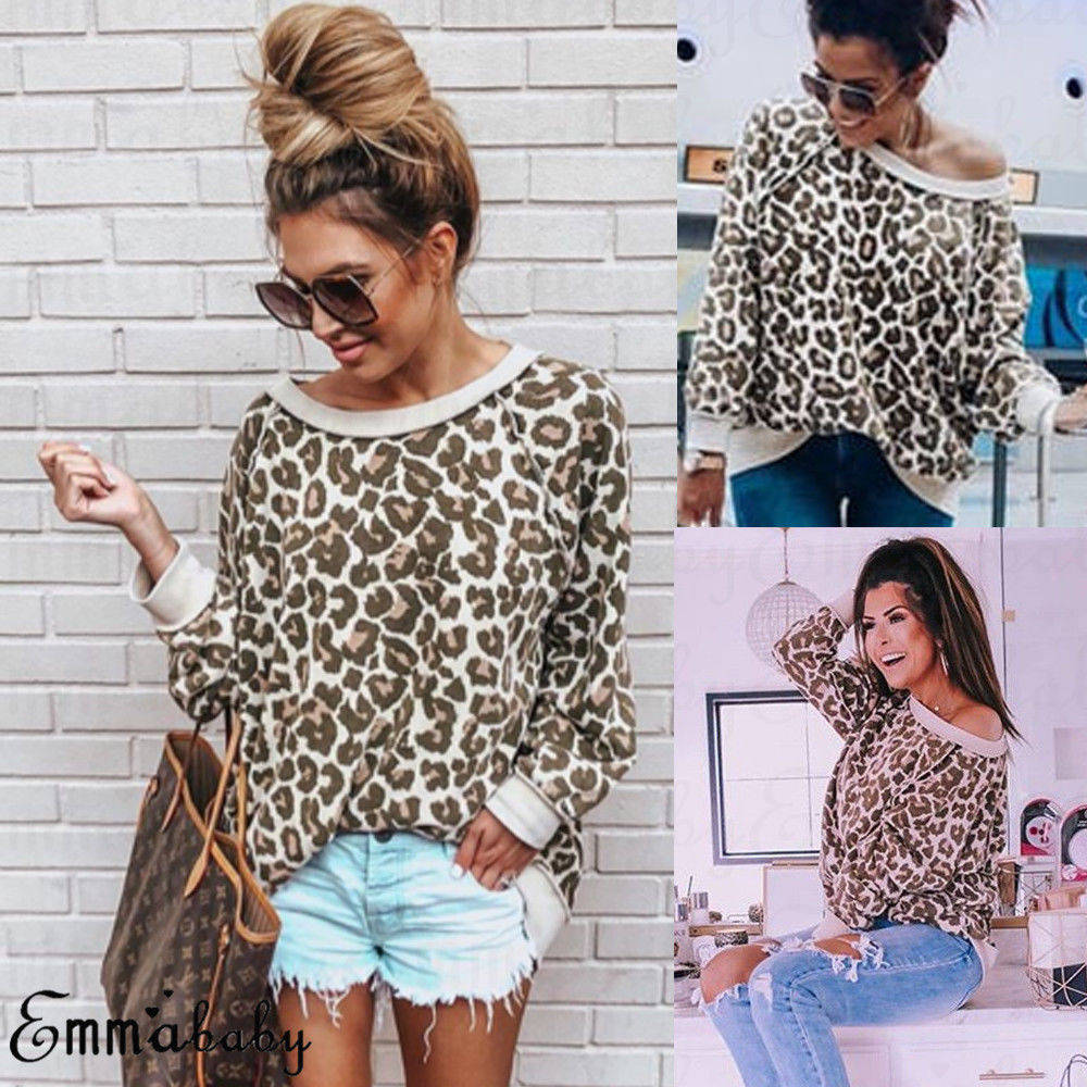 Fashion Women Ladies Long Sleeve Loose Leopard Print Casual T-Shirt Autumn Women Girl Tops Pullover T-Shirts jeans con blazer mujer