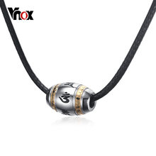 Vnox Six Words of Mantra Bead Charm Choker Necklace for Men Tibetan Male Religion Jewelry Stainless Steel Rope Chain(China)