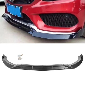 Matte Black Car Front Bumper Lip Spoiler Trim For Mercedes Benz W205 C-Class C300 C200 C180 2015 2016 2017 2018 Sport DP Style image