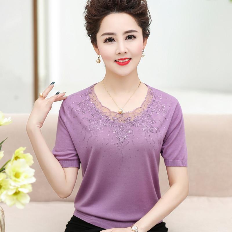 2019 printemps été femmes d'âge moyen à manches courtes mince tricoté chandail Style coréen Slim Sexy Patchwork dentelle pulls chandail