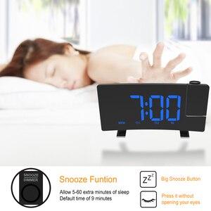 Image 2 - דיגיטלי רדיו שעון מעורר הקרנה נודניק טיימר LED תצוגת USB תשלום כבל 180 תואר שולחן קיר FM רדיו שעון