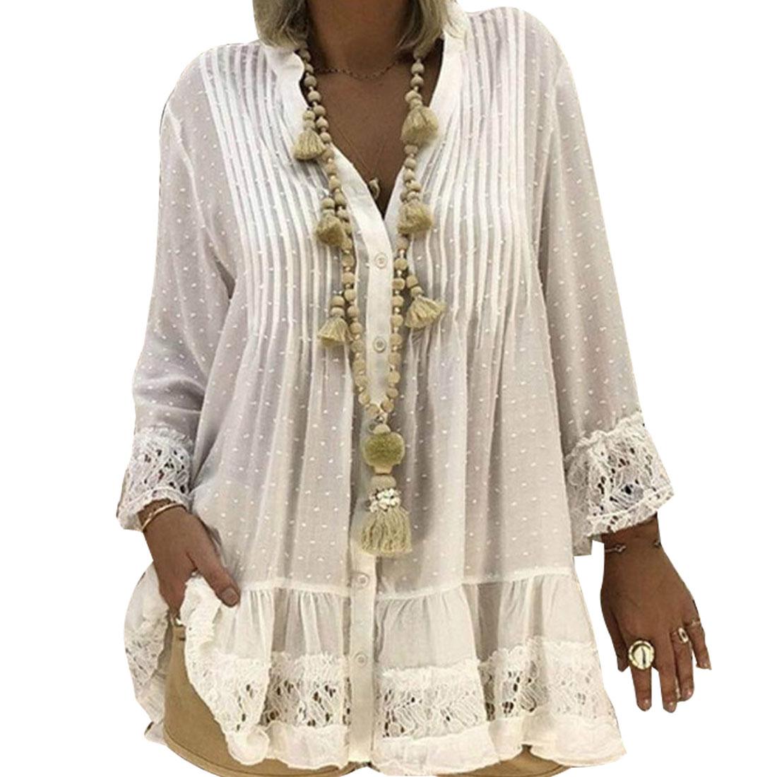Image 4 - 2020 Large Size 4xl 5xl Summer Clothing Lace Shirts Loose Chiffon Dress Loose blouse shirt Sleeve V Neck Shirt Female BlousesBlouses & Shirts   -