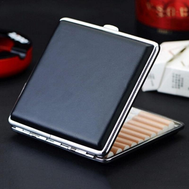 High Quality Leather Cigarette Case Hold 20pcs Men's Gift Cigarette Box Business Men Cigar Case Gadget For Smoker Smoke Tools
