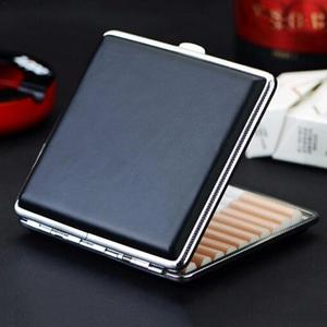 High Quality Leather Cigarette Case Hold 20pcs Men's Gift Cigarette Box Business Men Cigar Case Gadget For Smoker Smoke Tools(China)