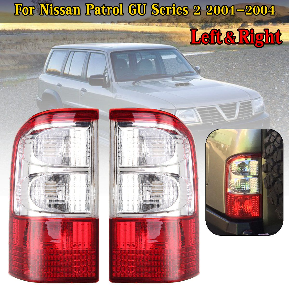 12 V Rear Tail Light For Nissan Patrol GU Series 2 2001 2002 2003 2004 Brake Lamp ABS Tail Light Lamp Without Wire Harness