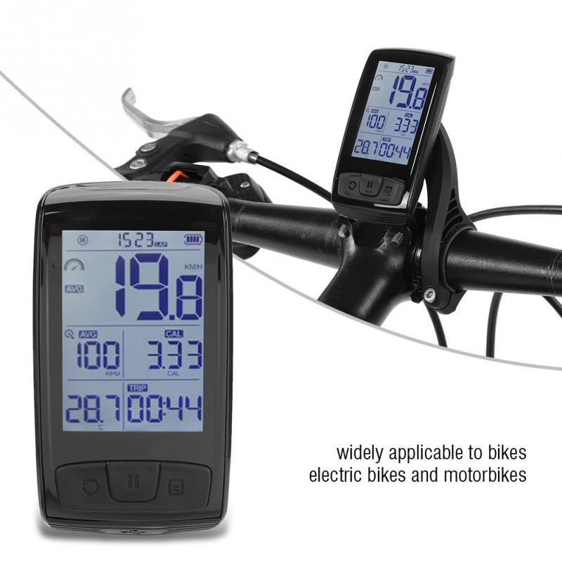 USB Rechargeable Wireless Bicycle Computer Cycling Bike Odometer LCD Display Bluetooth Connect with Bicycle Speedometer