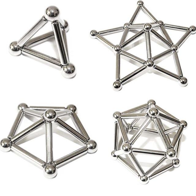 Zhenwei 36 PCS Magnetic Sticks & 27 PCS Steel Balls Toy Magnetic Puzzle Fidget Toy Sticks Construction  STEM Toys