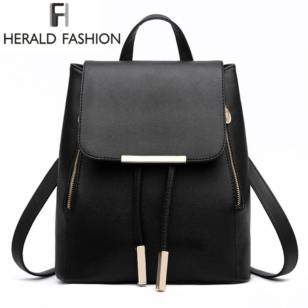 Bagaj ve Çantalar'ten Sırt Çantaları'de Kadın sırt çantası yüksek kaliteli PU deri Mochila Escolar okul gençler için çanta kızlar üst kolu sırt çantaları Herald moda