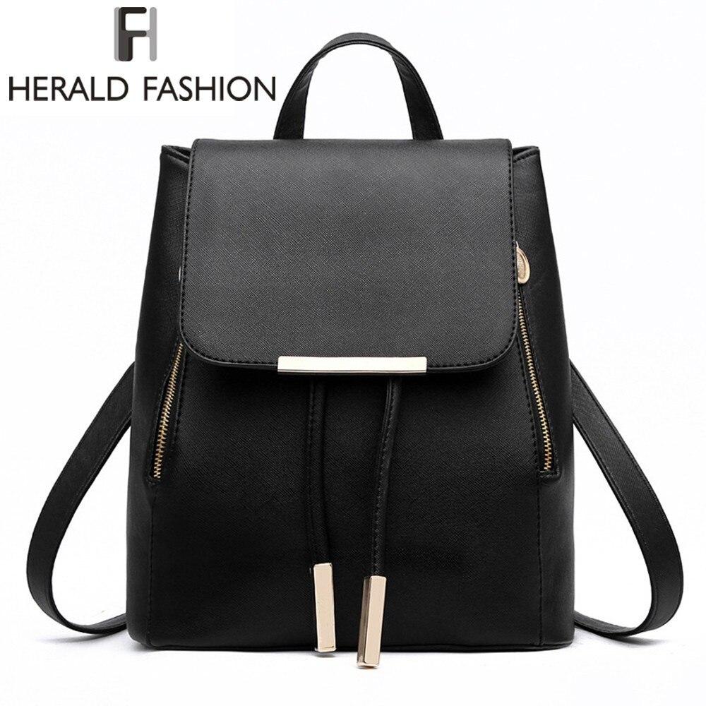 Las mujeres Mochila de cuero de la PU de la alta calidad Mochila Escolar bolsas para la escuela de chicas adolescentes mango superior mochilas para Herald de moda
