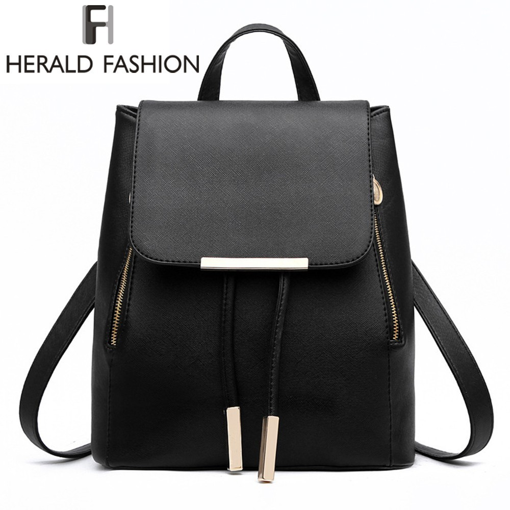 все цены на Women Backpack High Quality PU Leather Mochila Escolar School Bags For Teenagers Girls Top-handle Backpacks Herald Fashion