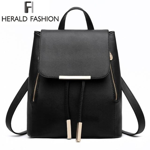 d20ef40ee724 Women Backpack High Quality PU Leather Mochila Escolar School Bags For Teenagers  Girls Top-handle Backpacks Herald Fashion