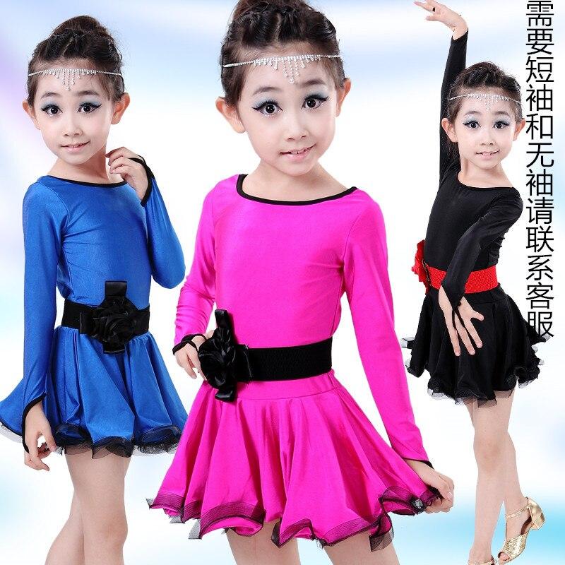 latin dance wear dress skirt flamengo for girls kids children competition ballroom dancing dancewear rumba cha cha tango salsa