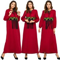 Ethnic Abaya Party Maxi Dress Muslim Women Embroidery Tassel Kaftan Jilbab Robe Ramadan Lace Up Ankle Length Gown Dubai Fashion