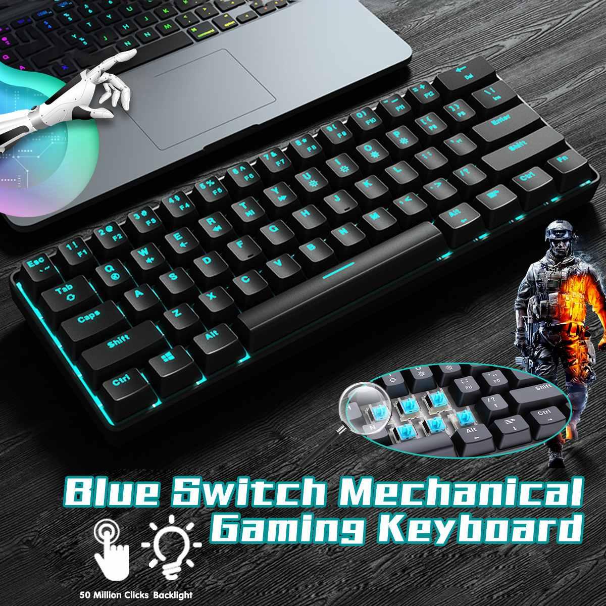 LEORY 61Keys 60% Outemu Blue Switch Mechanical Gaming Keyboard ICE Blue Backlit USB Type c Portable Keyboard