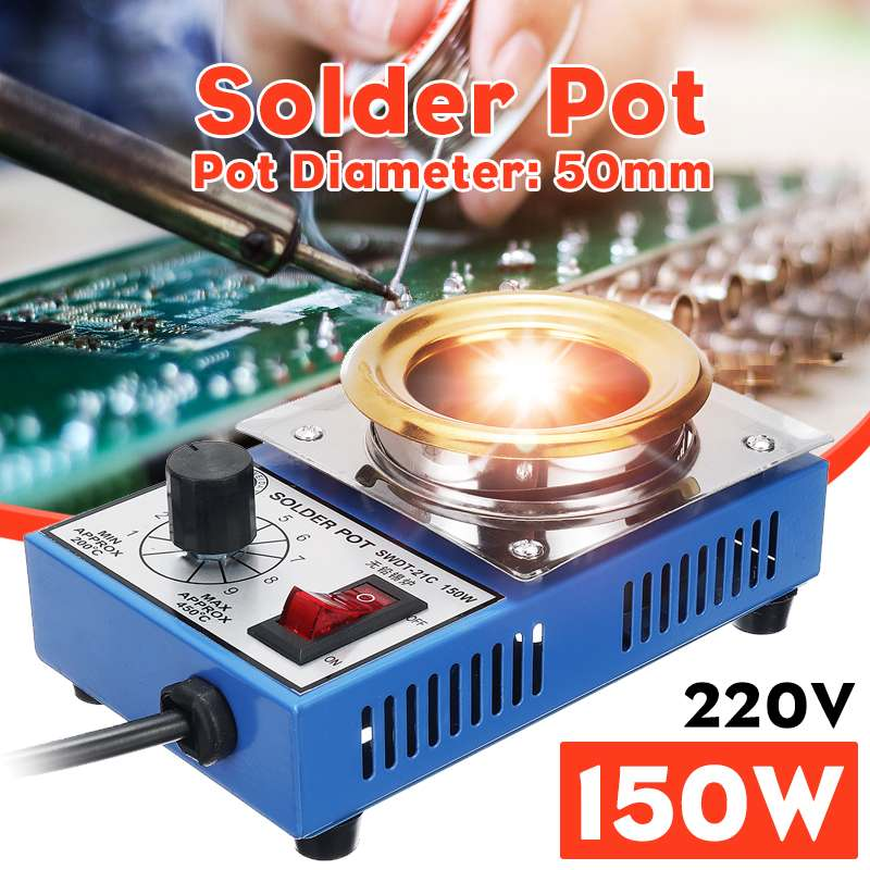 150W Solder Pot Soldering Desoldering Bath Plate 50mm 1200-450 Celsius Electric Soldering Irons