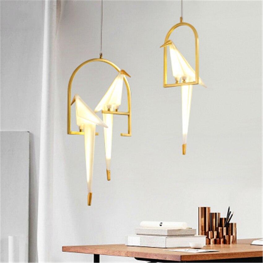Modern Bird LED Pendant Lamp Nordic Light Origami Crane Ceiling Lamps Living Room Wall Desk