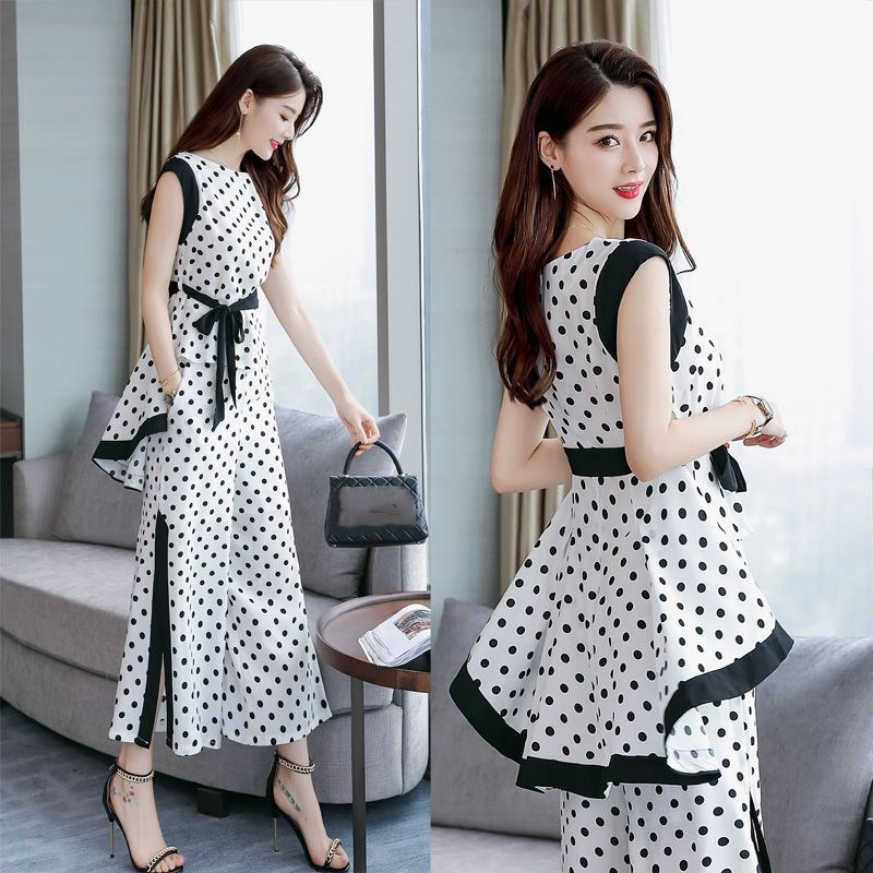 Plus Size Spring Women Suits Two Pieces Set Casual Sleeveless Hem Top And Wide Leg Pants Office Ladies Work Wear