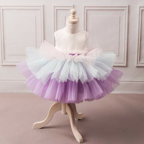 US Flower Girls Dress Princess Kids Baby Bow Tutu Party Wedding Bridesmaid Dress Support Wholesale