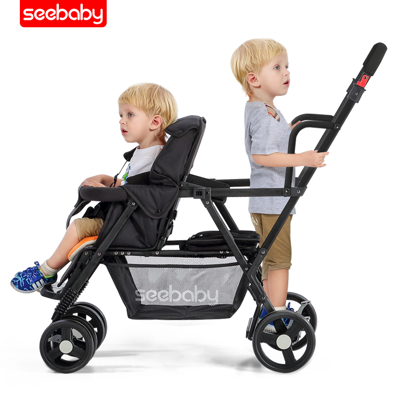 Double Stroller Newborn Baby Carriage Twin Baby Stroller 2 In 1 Baby Wagon Travel Systems Multiple Stroller Four Wheels Pram image
