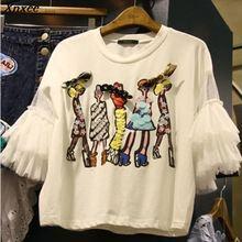 Женские футболки в Корейском стиле с блестками и мультяшными рисунками из лоскутной сетки, новинка, женские пуловеры с бисером и бантами, свободные женские футболки с коротким рукавом
