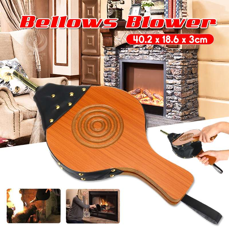 Durable Mini Wooden Hand Bellows Fireplace Blower Traditional Stove Fires Lighter Fan For Home DIY Fireside Accessory