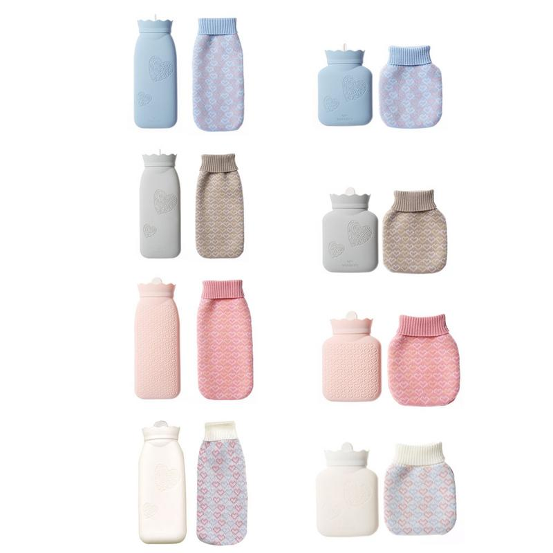 Silicone Hot Water Bottle Injection Water Explosion-Proof Warm Water Bag Environmental Safety With Plush Cover