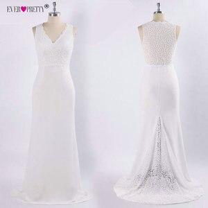 Image 5 - Elegant Ivory Wedding Dress Boho Robe De Mariee Simple A Line V Neck Sleeveless Lace Bridal Gowns Sweep Train Vestido De Noiva