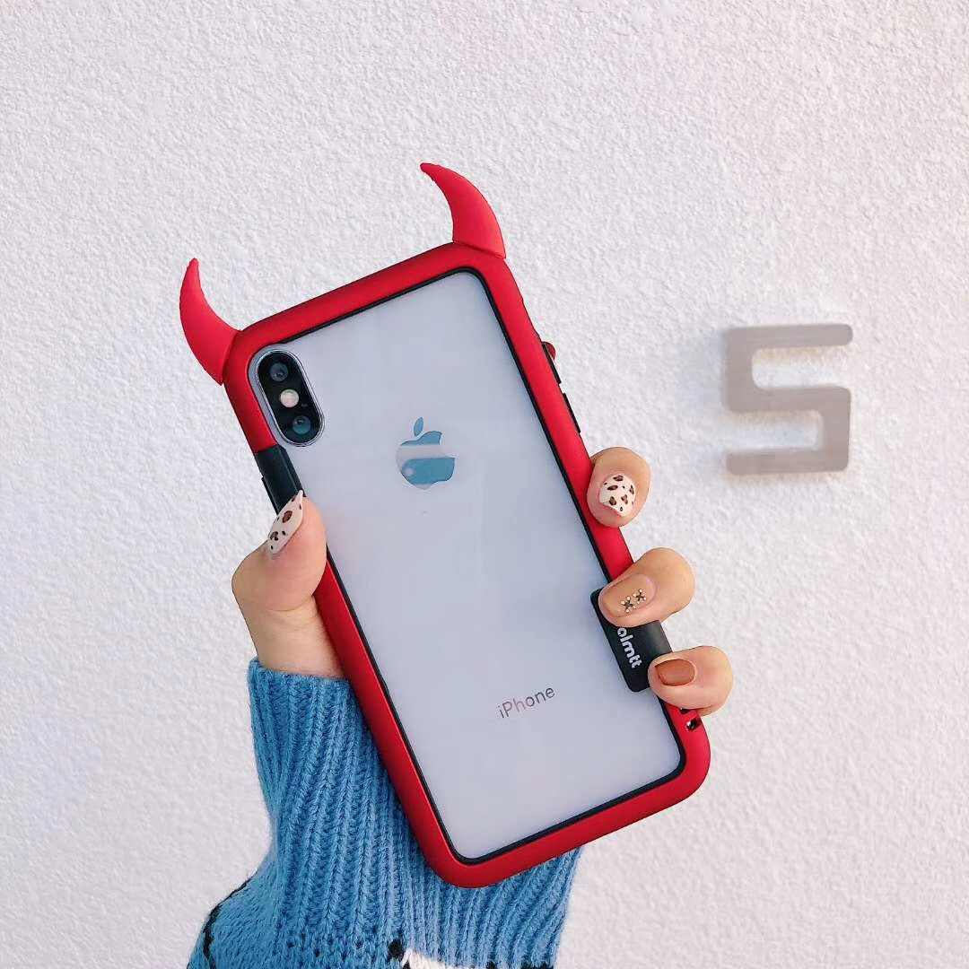 migliore a buon mercato 88323 9a7b3 Silicone 3D Horn Devil Phone Case for Iphone 6 6S 7 8 Plus XS XR Cartoon  Couple Transparent TPU Back Cover Black Frame