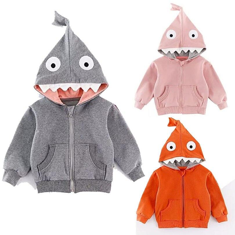 2018 Baby Kinder Jungen Mädchen Shark Mit Kapuze Mantel Kid Babys Jacke Hoodie Tops Pullover Hemd Kostüm Niedriger Preis