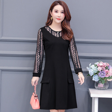 Fashion Spring Summer Vintage O-neck Black Lace Dress Sexy Women Long Sleeve Casual Hollow Out Party Dresses Plus Size Vestidos sexy hollow out sleeve party dress women party plus size 3xl dresses black lace mesh loose vestido femme vestidos de verano d30