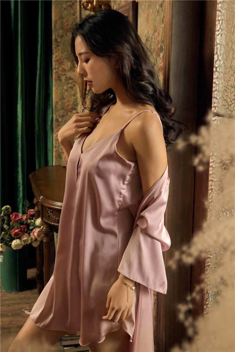 Yaz Kadın Elbise Elbisesi Takımları Saten Pijama Kadın Seksi Ipek Bayan Elbise Seti Ipek Uyku Salonu Robe Zarif Gecelik