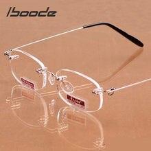 Iboode Unisex okulary do czytania marki Rimless okulary do czytania dla kobiet mężczyzn żywica przezroczyste soczewki okulary do czytania + 1.0 ~ 4.0