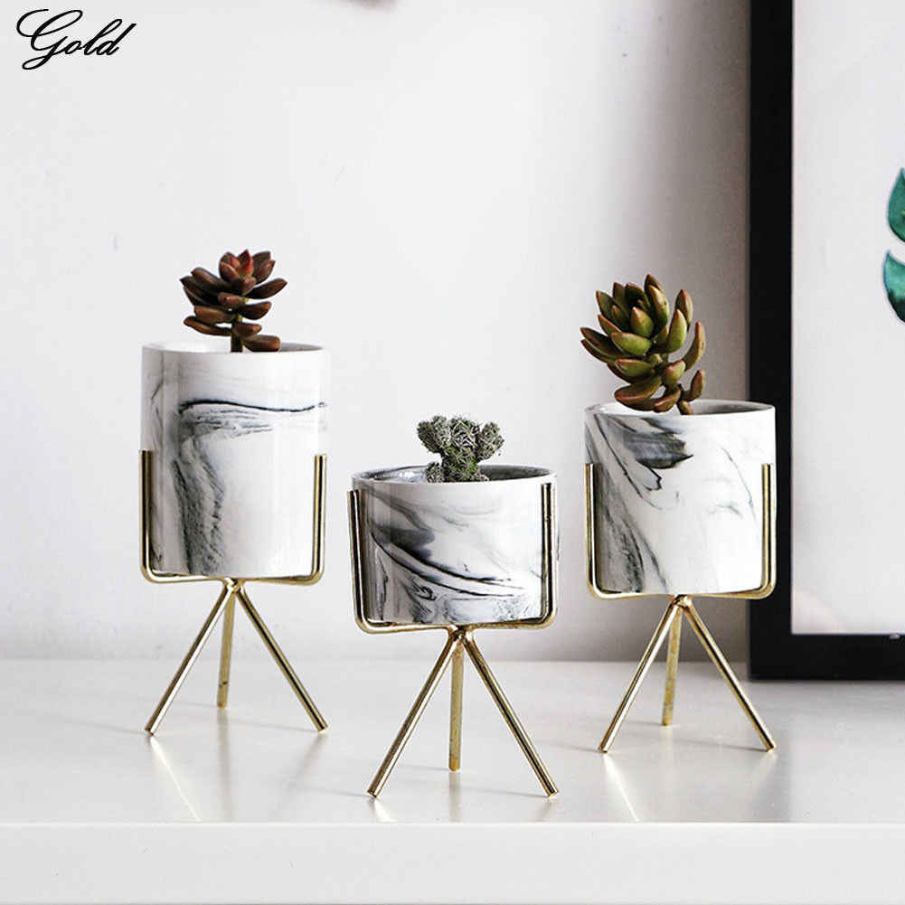 Classic Art Iron Display Rack with Ceramic Vase Landscape Shelf Flower Plant Pot Stand Anti-rust Holder Display Home Decoration