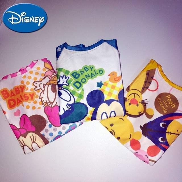 Baberos de bebé de Disney de manga larga de dibujos animados de Minnie Mickey babero Burp ropa accesorio de Disney
