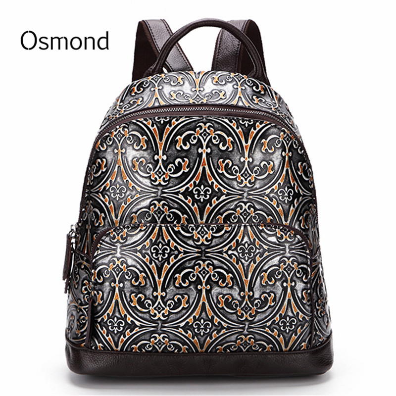 Osmond Women Genuine Leather Back Pack Female Embossed Backpack Vintage School Bag For Girls Cowhide Knapsack Ladies Travel Bags high quality genuine leather women backpacks female embossed flower backpack school bag vintage coffee ladies travel bags l0244