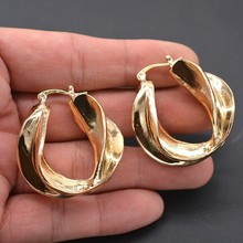 Gold Color Twisted Hoop Earrings Minimalist Geometric Statment Big Round Circle For Women India Jewelry