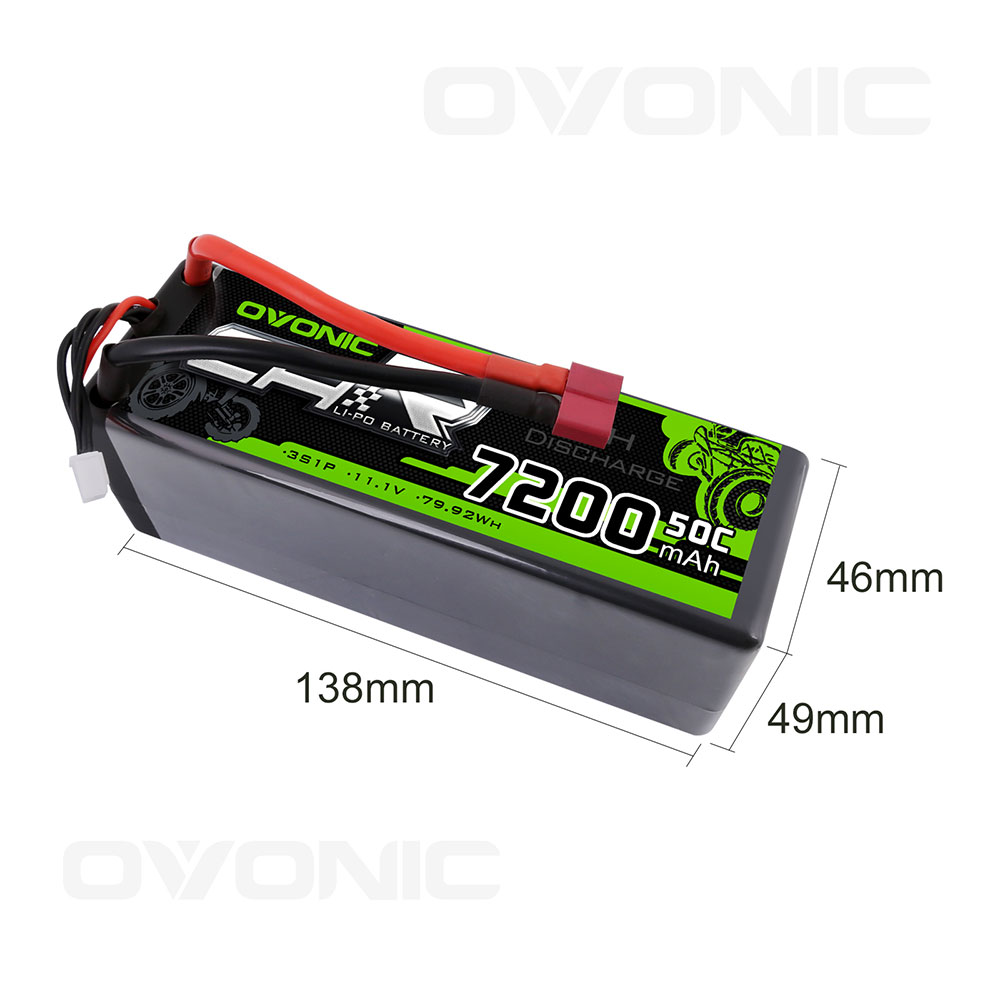 GOLDBAT 11.1V 5000mAh 3S 50C Lipo RC Battery Pack Hard Case with Deans T and TRX Connector for Traxxas E-maxx Axial RC Car Truck Buggy Truggy Racing