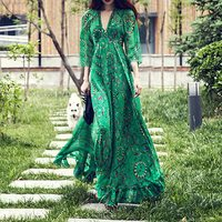 Vintacy Women Long Green Dress Summer V Neck Beach High Waist Floral Maxi Ruffles Boho Holiday Retro Plus Size 2XL Three Quarter